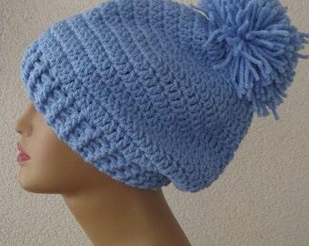 Blue Crochet Beret Hat wool beret Chunky Beanie  Sloucht hat beret unisex adults