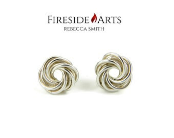 Mobius Ball Earrings. Love knot Sterling Silver Stud. Shiny polish finish. spiral vortex swirl flower patina chainmail Metalsmith