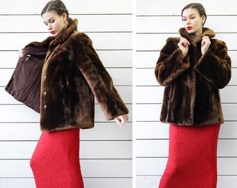 Vintage brown short mouton real fur women winter outerwear jacket coat L XL