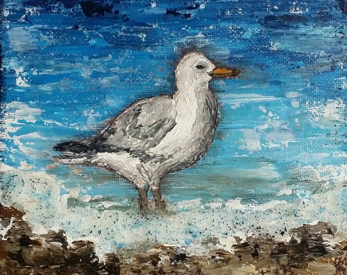 "Seagull Canvas Art | Shorebird Painting | Ocean Art | Beach Decor | 6x6 | ""Shorebirds"" Series No.1 