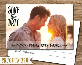 Photo Save the Date Postcard, Save Our Date Postcard - PRINTABLE file - handwritten script - STD01