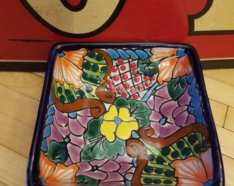 1970's Mexican Hand Painted Talavera Floral Pottery Square Serving Bowl Unused by Tal Ulisas