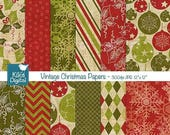 60% SALE Texture Vintage Christmas Digital Papers -  Scrapbooking Papers - card design, invitations, paper crafts, web design - INSTANT DOWN