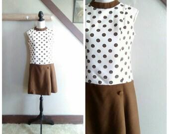 New Business 1960s Mod Cream & Brown Polka Dot Linen Drop Waist Shift Dress