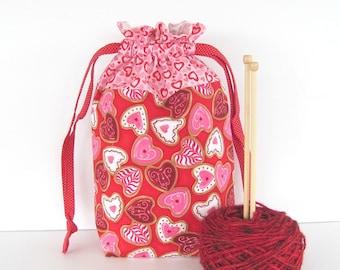 Knitting Bag, Crochet Project Bag, Drawstring Knitting Tote Bag, Yarn Storage Bag - Valentine Heart Cookies,  Baby Gift Bag