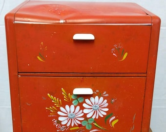 Shabby Vintage Ransburg Metal Bread Box / Countertop Storage / Retro Kitchen / Country Floral Design / Orange - Red / Two -Tiered