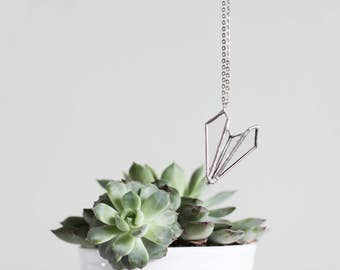 Paper airplane    . Airplane necklace. Bohemian necklace. Geometric necklace. Triangle necklace. Minimalist necklace. Origami necklace
