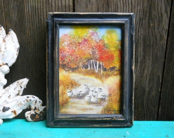 Vintage Sheep Herd Watercolor Painting Small Miniature Original Signed Andes, Plein Air Rural Farm Trees Autumn Landscape, French Country