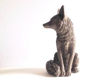 "SALE! DARK BROWN Large Fox Animal Statue / faux fox / nursery decor / woodland decor / table top decor / cabin decor / Large statue 13.5 """