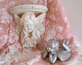 Cherub wall shelf - Vintage shelf - Shabby Chic - French Farmhouse - Cherub Figurine included