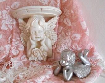 Angel and Cherub, Shelf, shabby n chic decor,  small accent shelf