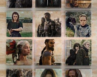 Game of Thrones Stone Coasters - Set of 4, 6, 8, 10 or 12(Choose your own) - HBO Jon Snow Khaleesi Khal Drogo Arya Stark Jaqen H'ghar Hodor