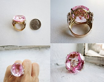 Vintage 8K Gold Cocktail Ring with Big Pink Stone and Tiny Diamonds (US Ring Size 5.5)