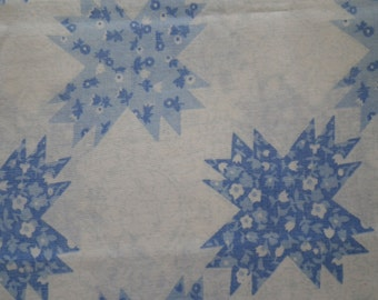 Vintage Perma-Prest Pillow Case Muslin Standard Size Blue Bedding Bed Linens Fabric Sewing or Crafting Abstract Flowers