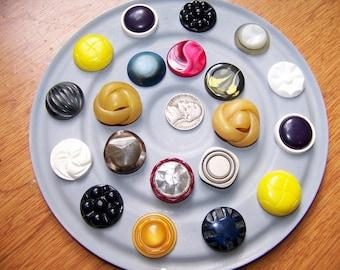 Lot of 20 Vintage Fancy Plastic  Shank Buttons