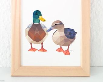 Mallard duck print, Duck pair illustration, Wild ducks art, New Zealand duck, Duck nursery art, Geometric duck, Animal art for nursery, Kiwi