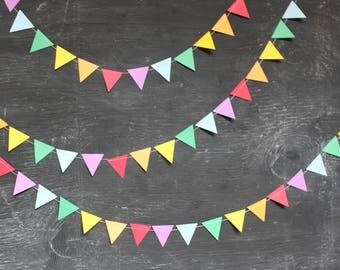 Rainbow Party Decorations, Paper Garlands, Rainbow Birthday Party, Paper Bunting, Baby Shower Decorations, MINI TRIANGLES, 10 feet long
