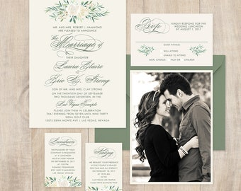 Classic Wedding Invitation with greenery and white flowers, brush fonts, modern design, spring or summer wedding, full paper suite