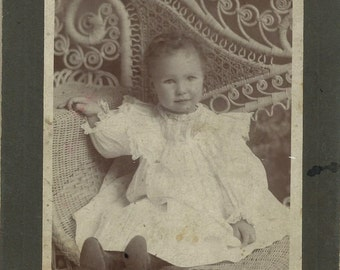 Antique Cabinet Card Photo of Darling Baby on Wicker Chair, 1800s