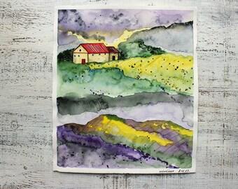 Fantasy Toscana landscape original watercolor 10x11 Italy Italian summer watercolor nursery art