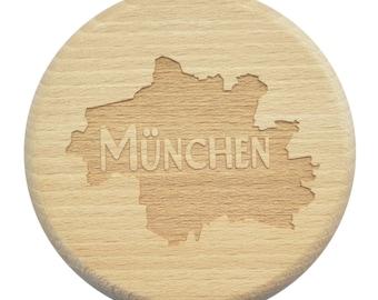 Beer glass lid Munich Bavaria beer engraving WaSP protection - glass lid - beech - engraving - Munich