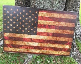 Vintage American Flag with Marine Corps emblem