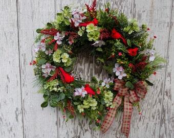 Spring Wreath, Dogwood Spring Wreath, Woodland Wreath, Country Wreath, Greenery Wreath, Cardinal Wreath