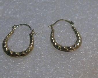 """14Kt Hoop Pierced Earrings, 3/4"""", Horseshoe Shaped, .58 grams,"""