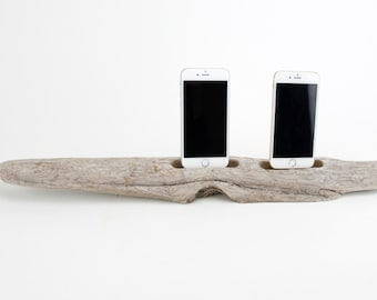 Docking Station for 2 iPhones, iPhone dock, iPhone Charger, iPhone Charging Station, driftwood dock, wood iPhone dock/ Driftwood-No. 968