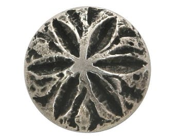 12 Sand Dollar 5/8 inch ( 15 mm ) Metal Buttons Antique Silver Color