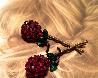 HOLIDAY SAVINGS Decorative Hair Pins Jewelry 1950's Red Weiss Red Christmas Holiday Rhinestone Hairpins Bobby Pins, EXQUISITE!! Rare!