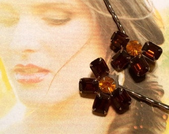 HOLIDAY SAVINGS Decorative Hair Pins Jewelry Topaz Amber Bridal Rhinestone Hairpins Bobby Pins