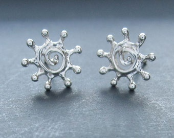 Tiny WHITE gold Spiral Sun solid 14k white gold studs earrings handmade in usa