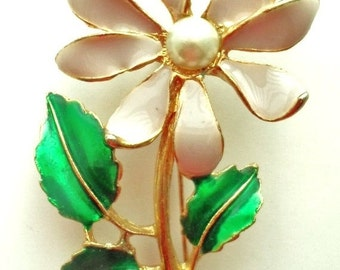 ON SALE Vintage Lavendar, Green and Gold Enamel Daisy Brooch Pearl Center Gold Stem and Green Leaves Bridal Brooch Bouquet Pin