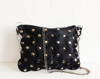 Edgy crossbody bag, Stud crossbody bag, Clutch bag, clutch purse, black leather, Evening bag, Rock chic style