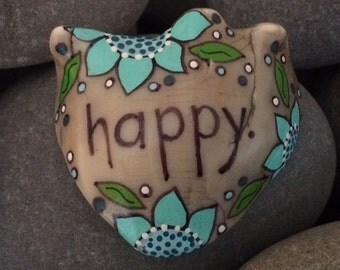 Painted sea shell - HAPPY- seashell - turquoise daisies flowers - stocking stuffer - conch