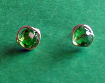 Emerald Green Stud Earrings, Wirewrapped Post Earrings, Non Tarnish Wire with Emerald Green Faceted Crystals