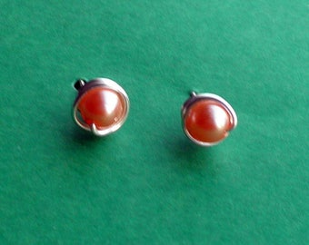 Peach Faux Pearl Stud Earrings, Wirewrapped Post Earrings, Non Tarnish Wire with 7 mm Peach Pearls