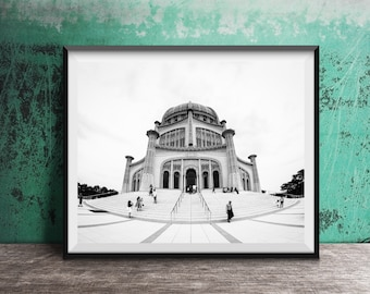 Bahá'í House of Worship - Black and White Photography Print