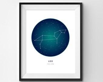 Leo Printable | Leo Art Print | Constellation Printable | Constellation Art | Constellation | Zodiac Art | Printable Art
