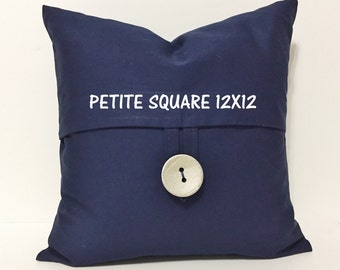 Navy pillow cover. Petite Square Button pillow cover. Metallic painted Coconut Button. decorative sofa throw pillow, home decor accent