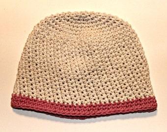 Girls cotton hat - cream hat with pink beanie - kids hat - READY TO SHIP girls beanie
