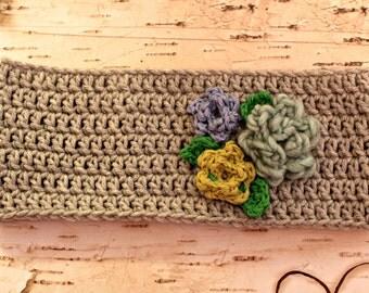 Ear Warmer Headband with flowers - warm winter hat alternative
