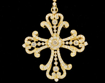 Handmade, 14k, Gold, Yellow Gold, Diamond, Pendant,  Religious Broach, High End,  Pearls, Chain