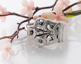 Vintage Spoon Ring - Morning Glory Silverware Ring - Spoon Jewelry - Square Spoon Ring - Spoon Ring - Silverware Spoon Ring (mcf  R511)