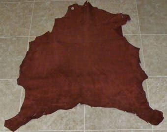 RIZ8182-13) Hide of Red Brown Lambskin Suede Leather Skin