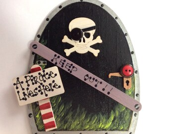 Handpainted Pirate Fairy Door Elves Pixies Skirting Board Decor with Skull and Crossbones Gift