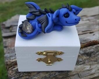 Polymer clay dragon on a trinket box