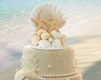 Seashell Wedding Cake Top, Sea Shell Cake Topper, Beach Wedding Cake Topper