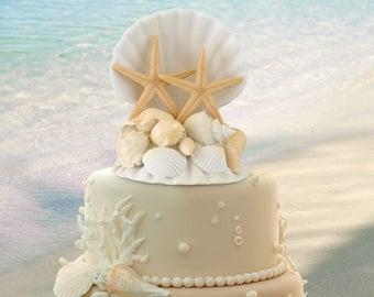 Beach cake topper etsy seashell wedding cake top sea shell cake topper beach wedding cake topper junglespirit Gallery